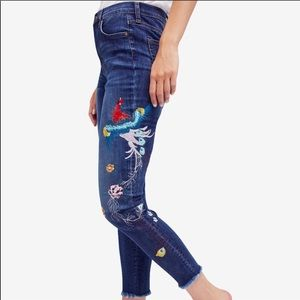 Free people peacock embroidered jeans